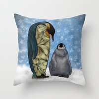 Emperor Penguins Throw Pillow