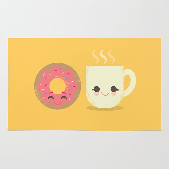 Coffee and Donut Buds Area & Throw Rug