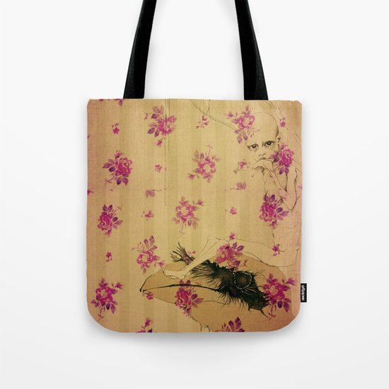 through forest boy mounted on your bird Tote Bag