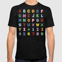 Alphabet on Black Mens Fitted Tee Tri-Black SMALL