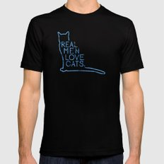 Real Men Love Cats Watercolor Blue Mens Fitted Tee Black SMALL