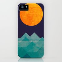 iPhone Cases featuring The ocean, the sea, the wave - night scene by Budi Kwan