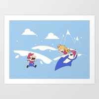 Mario's Adventure Time Art Print