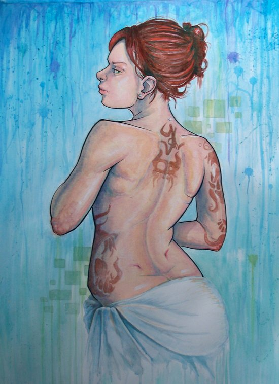 The Woman with Strange Tattoos Art Print