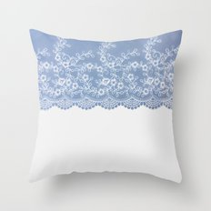 Lace #Blue Throw Pillow