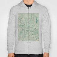 Dallas Map Blue Vintage Hoody