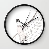 girl on a stair Wall Clock