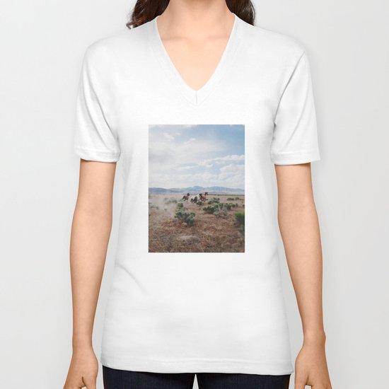 Running Horses V-neck T-shirt