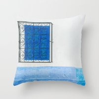 Two Blue Shuttered Windo… Throw Pillow