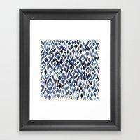 Indigo Ikat Pattern Framed Art Print