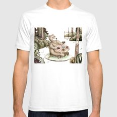 Mr.Brown is having breakfast SMALL White Mens Fitted Tee