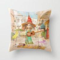 Street Singer Throw Pillow
