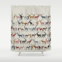Oatmeal Spice Deer Shower Curtain