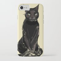 black cat iPhone & iPod Cases featuring Black Cat by Jaleesa McLean
