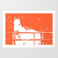 White Horse - Coral Red Art Print
