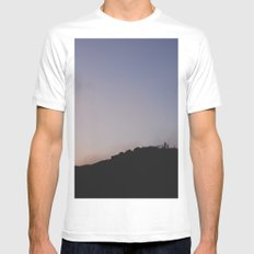 Male silhouetted on mountain top at sunset. Derbyshire, UK White Mens Fitted Tee SMALL