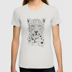Lovely Leopard Womens Fitted Tee Silver SMALL