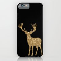 iPhone Cases featuring Sparkling golden deer  by UtArt