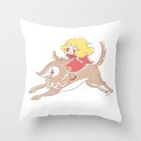 Caperucita De Paseo Throw Pillow