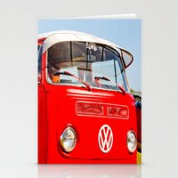 Red VW Bus Bold Print Stationery Cards