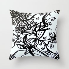 Forget Me Not Black & White  Throw Pillow
