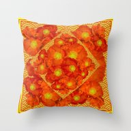 Orange-Red Poppies In Ye… Throw Pillow