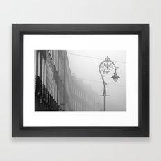 Dublin street lamp in the fog Framed Art Print