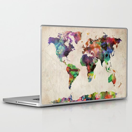 World Map Urban Watercolor Laptop & iPad Skin