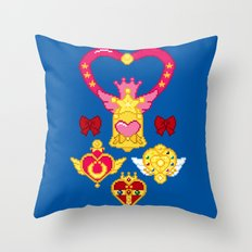 Pixel Moon Brooches Throw Pillow