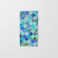 Cobalt Blue, Aqua & Gold Decorative Moroccan Tile Pattern Hand & Bath Towel
