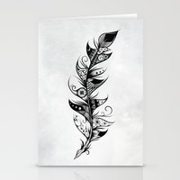 feather Stationery Cards featuring Feather by LouJah