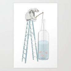 Polar Bear Fishing from a Bottle Art Print