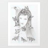 White Raven Art Print