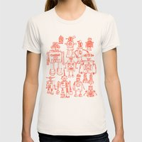 Robots! Womens Fitted Tee Natural SMALL
