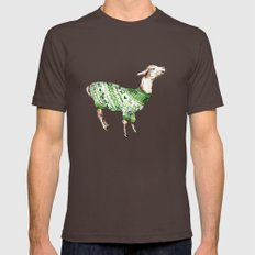 Llama in a Green Deer Sweater Mens Fitted Tee Brown SMALL