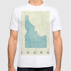 Idaho State Map Blue Vintage Mens Fitted Tee Ash Grey SMALL