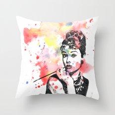 Audrey Hepburn Painting Throw Pillow
