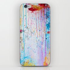 HAPPY TEARS Bright Cheerful Abstract Acrylic Painting, Drip Splat Bold Pink Red Purple Spring Art iPhone & iPod Skin