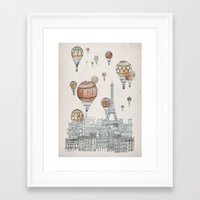Framed Art Print featuring Voyages Over Paris by David Fleck