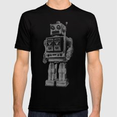 Vintage robot Mens Fitted Tee Black SMALL