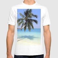 Tropical Beach Mens Fitted Tee White SMALL
