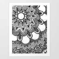 Black And White Doodle 2 Art Print