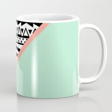Block | Black White Aztec Pattern Mint Green Color Block Mug