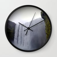 skogafoss waterfall, iceland. Wall Clock