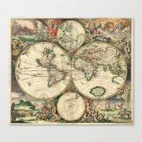 Old Map Of World Hemisph… Canvas Print