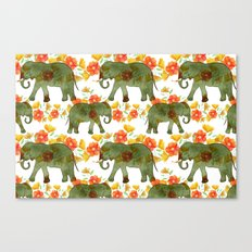 Wading Elephants Canvas Print
