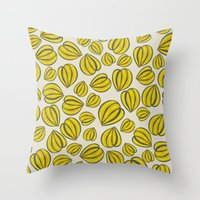 Yellow Floral Pods Throw Pillow