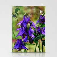 Purple Petals in the Rain Stationery Cards