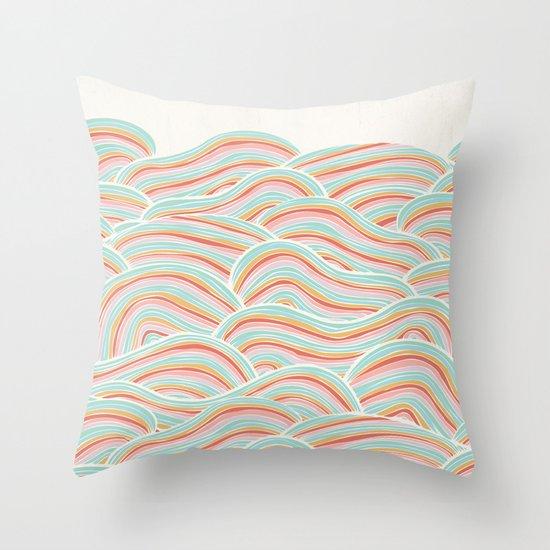 Summer Sea Waves Throw Pillow