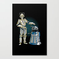 Cyber3PO and R2Dalek Canvas Print